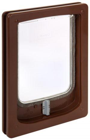 W-SDDB Wood Fitting Small Dog Door Slim Line Brown